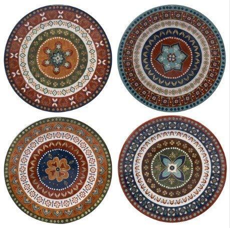 Monterrey Multicolored Ceramic 11.25-inch Dinner Plates (Set of 4 in Varying Designs), Sturdy, Vibrant, Dishwasher Safe, 15800SET/4