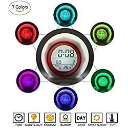 Digital Alarm Clock for Kids, Changing Night Light Alarm Clocks Wake Up 7 Colors LED Backlight with Cool 6 Nature Sounds Digital Clock for Bedrooms and Office Desk (Red)