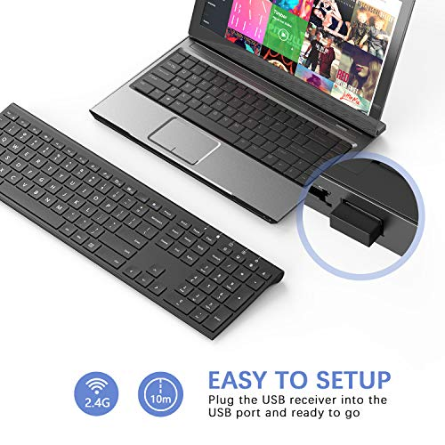 Rechargeable Wireless Keyboard, Jelly Comb 2.4GHz Full Size Ultra Slim Keyboard for Computer / Deskt - http://coolthings.us