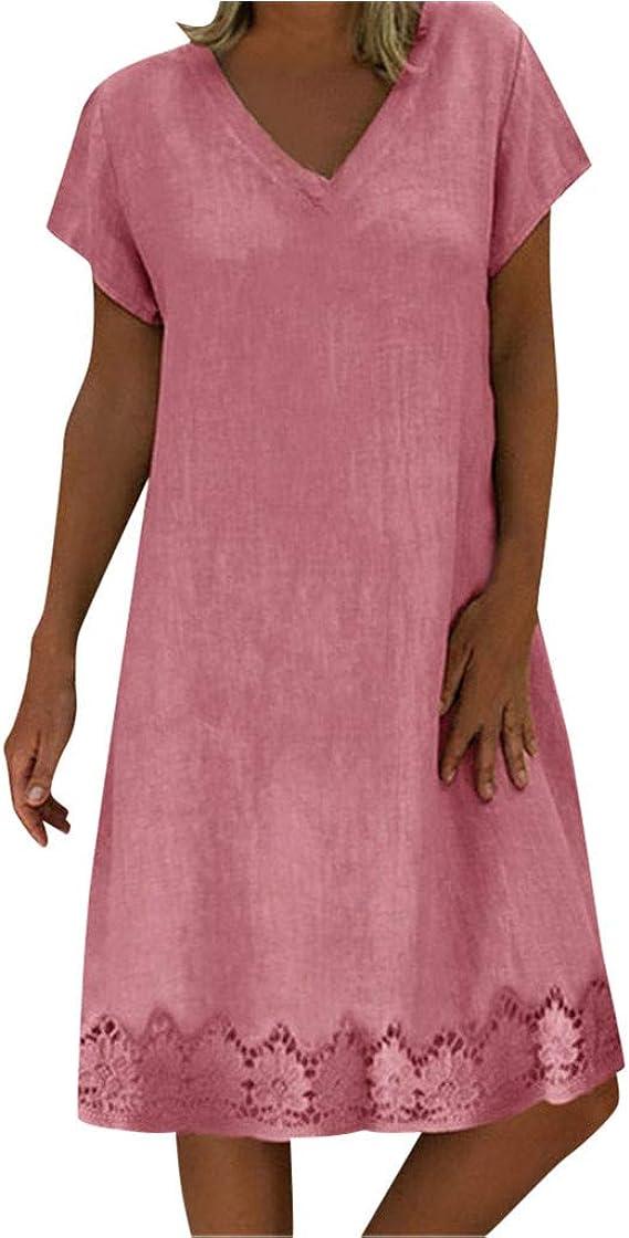 Vestido largo para mujer, algodón y lino, vintage, suelto, sin mangas, cuello en V, bohemio, verano, playa, maxivestido, Mujer, color 4-Rosa, tamaño extra-large: Amazon.es: Ropa y accesorios