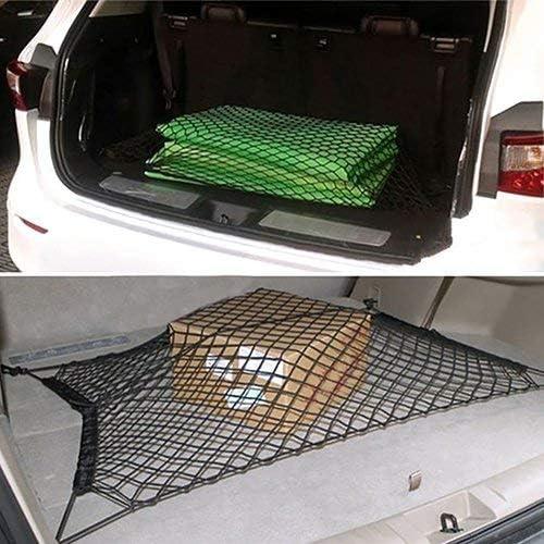 Organizer per carico Posteriore in Nylon Elastico Flessibile HAODEE Rete portaoggetti Bagagliaio per Auto Supporto per portabagagli per Bagagliaio per Auto per SUV con 4 Ganci