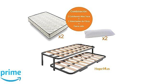 HOGAR24.es-Cama Nido Estructura Reforzada Doble Barra Superior (4 Patas) + 2 Flexitex + 2 Almohadas de Fibra-105x180cm: Amazon.es: Juguetes y juegos