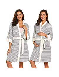 Maternity Nightwear Sets Maternity Confinement Service Maternity Pajamas Thin Section Postpartum Home Service Nursing Clothes Nursing Clothes Spring Autumn and Summer,Gray,M