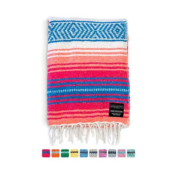 Mexican-Blanket-Falsa-Blanket-Authentic-Hand-Woven-Blanket-Serape-Yoga-Blanket-Perfect-Beach-Blanket-Navajo-Blanket-Camping-Blanket-Picnic-Blanket-Saddle-Blanket-Car-Blanket-Coral