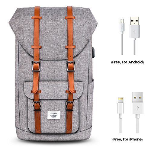 """Price comparison product image Wirarpa Laptop School Backpack College Vintage Rucksack Commuter Retro Anti-theft Carry On Business Daypack Casual Travel Hiking Outdoor Satchel Bag Unisex with USB Charging Port Fits 15.6"""" Laptop/Tab"""