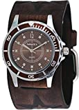 Nemesis #FST092B Women's Star Icon Brown Dial Sports Wide Leather Cuff Band Watch