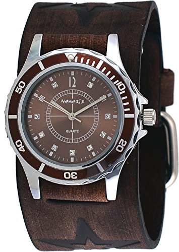 Dial Brown Leather Cuff (Nemesis #FST092B Women's Star Icon Brown Dial Sports Wide Leather Cuff Band Watch)