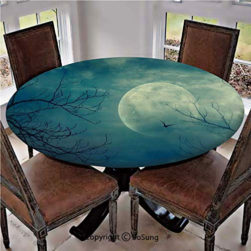 Elastic Edged Polyester Fitted Table Cover,Halloween with Full Moon in Sky and Dead Tree Branches Evil Haunted Forest,Fits up to 36