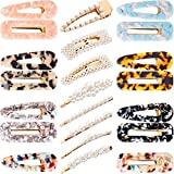22 Pieces Artificial Pearls Hair Clips Acrylic Barrettes Hairpins Marble Clips Hair Accessories for Girls Women Daily and Party Dressing