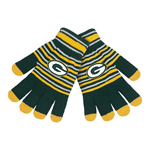 FOCO NFL Team Unisex Acrylic Stripe Knit Stretch Gloves with Texting Tips (Green Bay -