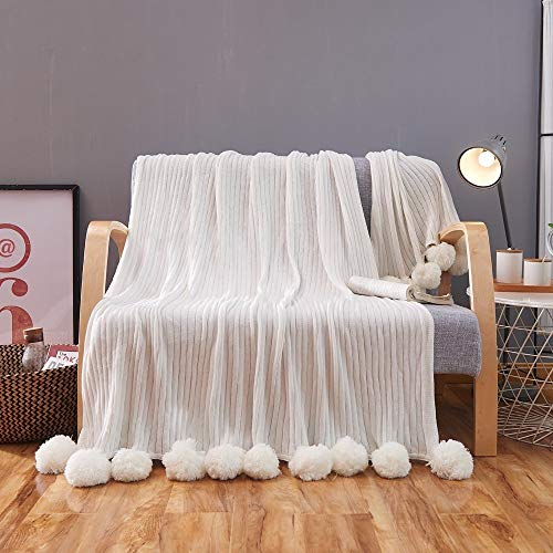 ZHIMIAN Reversible 100% Cotton Knit Throws Pompoms Fringe Solid Hypoallergenic Blanket (39