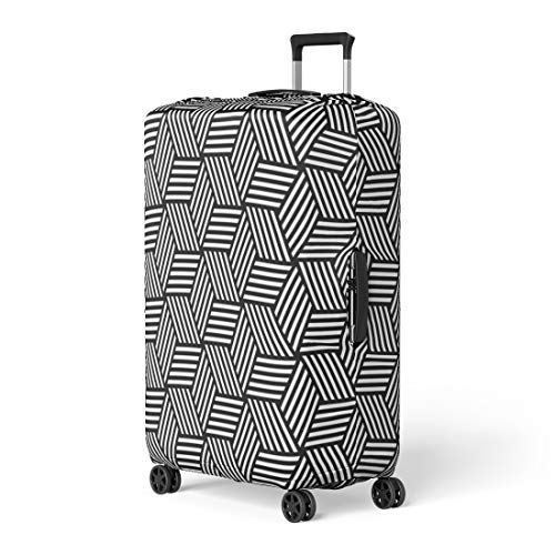 - Pinbeam Luggage Cover Modern Geometric Pattern in Op Abstract Shape Diamond Travel Suitcase Cover Protector Baggage Case Fits 26-28 inches