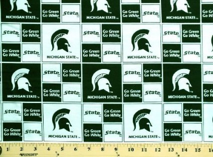 Cotton College Michigan State University Spartans 020 Print Cotton Fabric By the Yard