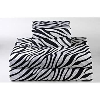 """Zebra Print 4PCs Bed Sheet Set Queen Size Bland Durable Quality Genuine 600-Thread-Count (15"""" Pockets) Super Rich Egyptian Cotton by Rajlinen"""