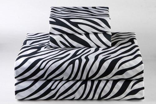 Rajlinen 100% Cotton Bed Sheet Set - 300 Thread Count Sateen - 15 inch Deep Pocket - Quality Luxury Bedding - 4 Piece (Zebra Print Queen) - Queen Zebra Animal