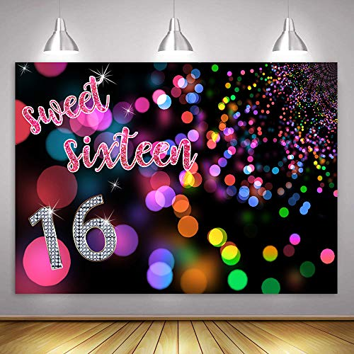 MME 10x7ft Fantasy Neon Disc Background Sweet 16 Birthday Party Large Size Seamless Backdrop Photo Booth Props ZYME0677 -