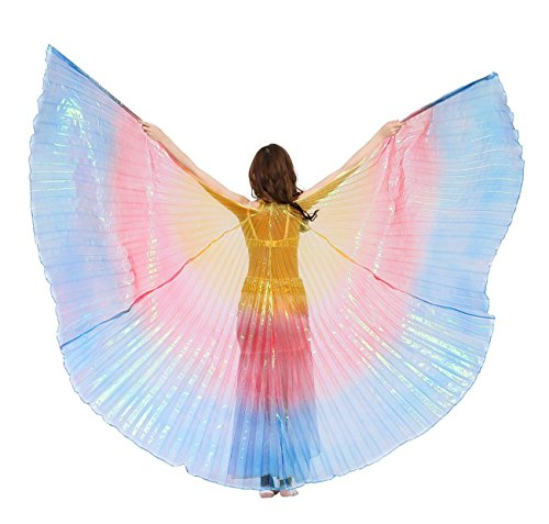 Dance Fairy Belly Dance Isis Wings(Yellow,Red and Royal Blue Mixed No.11) (Latin Dancing Costume Patterns)