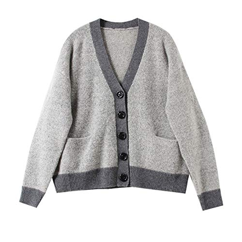 JIAKENVDE Wind Knit Cardigan grau Loose Short Sweater Coat Female