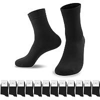 SmartQian 12 Pares Calcetines Hombres Mujeres Ejecutivos Negros de Algodón Transpirables Uso Diario Unisex