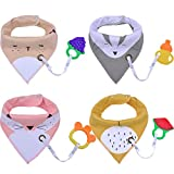 Baby Bibs,Aniwon 4 Pack Bandana Drool Bibs and 4 Baby Teething Toys Gift Set Organic Cotton Baby Bibs for Girls