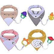 Baby Bibs,Aniwon 4 Pack Bandana Drool Bibs and 4 Baby Teething Toys Gift Set Organic Cotton Baby Bibs for Girls