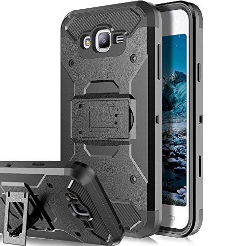 Galaxy J7 Neo J701M / J7 Nxt J701F / J7 Core J701 Case,Telegaming Heavy Duty Impact Resistant Armor Case Holster Belt Clip Kickstand Cover For Samsung Galaxy J7 Neo J701M / J7 Core J701FZ Black