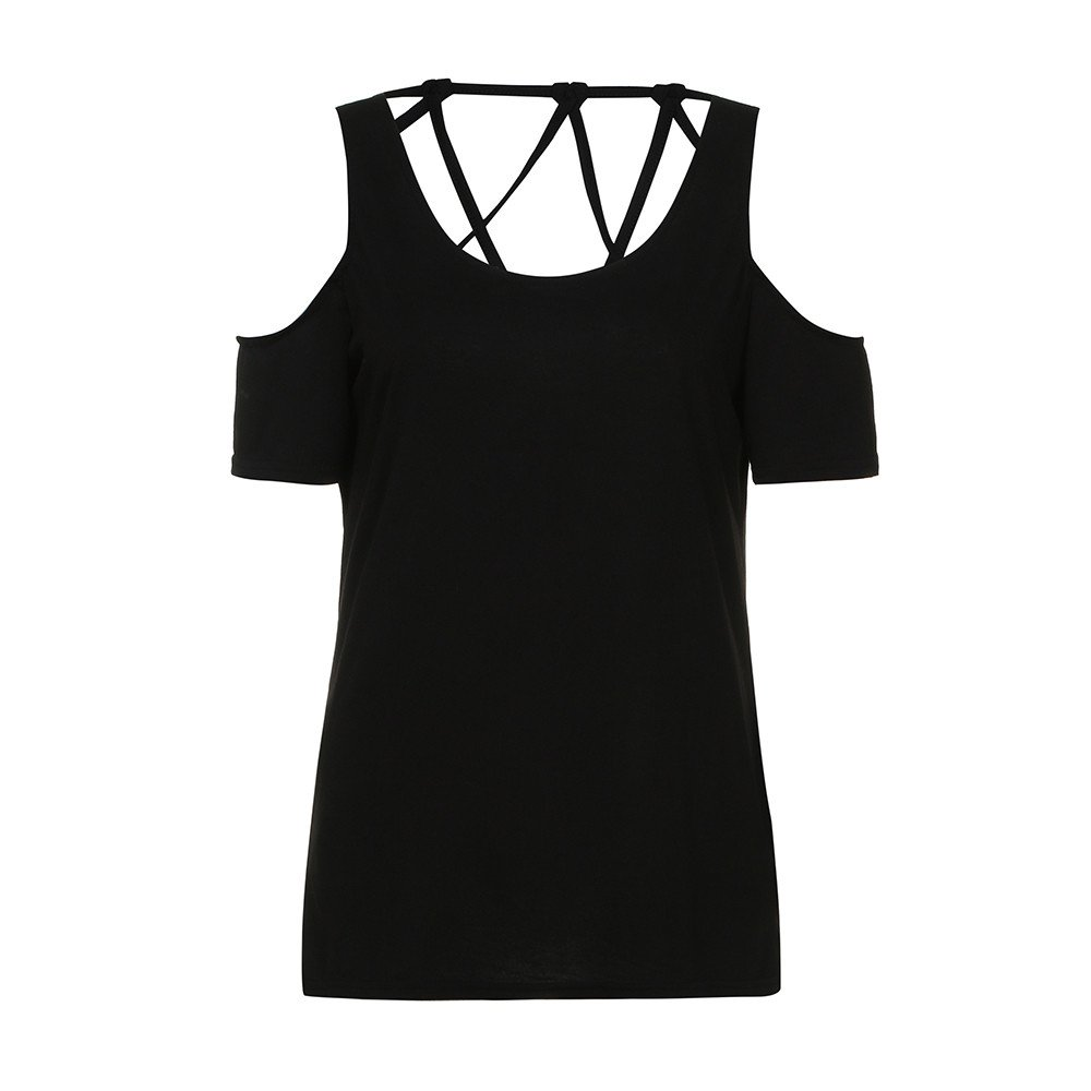 Women Summer Short Sleeve,Selinora'S Causal Off The Shoulder Fancy T-Shirt Tops Hollow Out Fashion Blouses Shirts Black