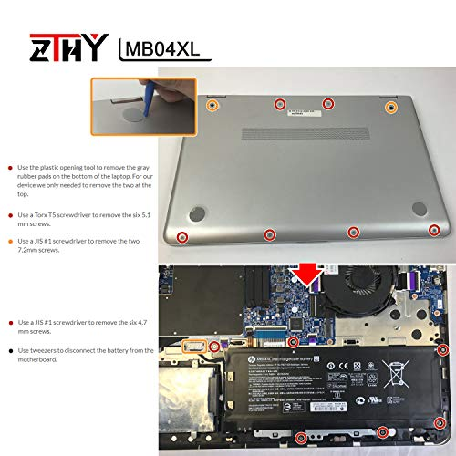 ZTHY MB04XL Laptop Battery Replacement for HP Envy X360 M6 M6-AQ105DX  M6-AQ003DX M6-AQ005DX Convertible PC 15 Series Notebook HSTNN-UB6X  843538-541