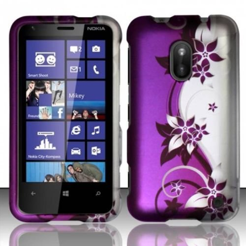 PURPLE VINES HARD PLASTIC MATTE COVER CASE FOR NOKIA LUMIA 620 + LCD PROTECTOR [In Casesity Retail - Case Lcd Purple