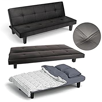 click clack sofa bed black faux leather guest or spare room bed settee by tuscan