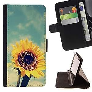 For Samsung Galaxy E5 E500 Case , Verano Caliente Vignette Amarillo- la tarjeta de Crédito Slots PU Funda de cuero Monedero caso cubierta de piel