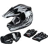 XFMT Youth Kids Motocross Offroad Street Dirt Bike Helmet Goggles Gloves Atv Mx Helmet Black Skull  (XL, Black Skull)