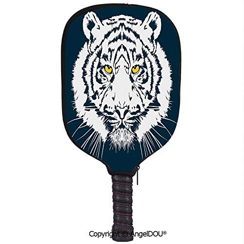 AngelDOU Tiger Waterproof Zipper Single Pickleball Paddle Racket Cover Case Aggressive Depiction of a Giant Furry Feline Majestic Animal Mascot of Asia for for Most Rackets.Petrol Blue ()