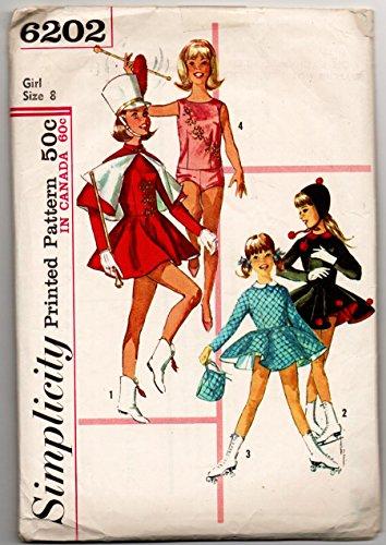 Vintage Majorette Costumes (Simplicity 6202 Girls Majorette and Skating Costumes Sewing Pattern Girls Size 8 (Breast 26))