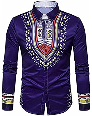 SYTX Mens African Print Slim Fit Long Sleeve Button Down Dress Shirt Blouse Top