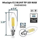 Misslight LED Candelabra Bulb, 4W Dimmable Sapphire LED Filament Candle Light Bulb,40-Watt Light Bulbs Equivalent, Decorative Light Bulb E12 Candelabra Base, 400lm, UL Listed