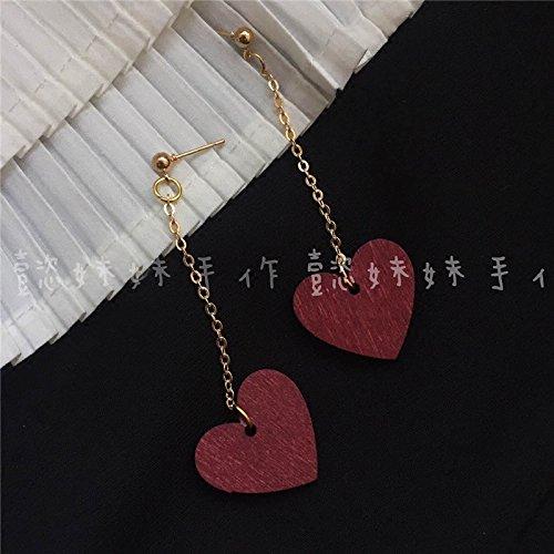"Custom ""Yi sister"" Ah Qin same paragraph retro wooden love wine red ear clip arts Earrings in Sterling Silver"