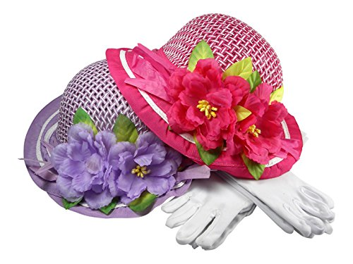 Girls Tea Party Dress Up Play Set for 2 with Sun Hats and White Gloves, by Butterfly Twinkles - Purple and Bright Pink