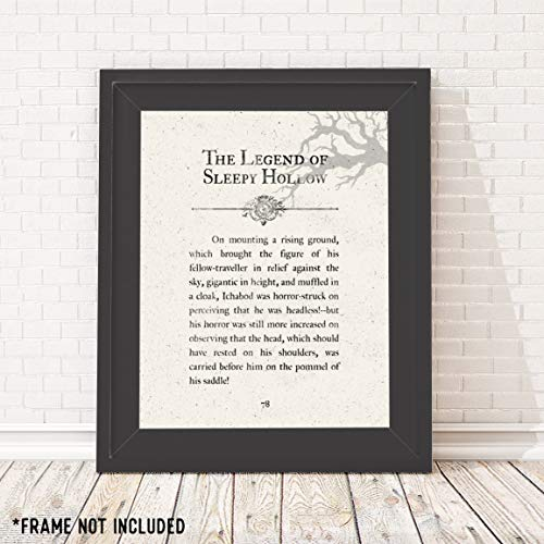The Legend of Sleepy Hollow - Book Page - Unframed 11x14 Print - Perfect Halloween Decorations ()