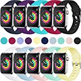 Laffav Compatible with Apple Watch Band 40mm 38mm 44mm 42mm for Women/Men, Soft Sport Bands Replacement Strap Accessory for iWatch Apple Watch Series 4 3 2 1, Multi Colors Available, S/M M/L