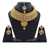 Best Valentine Gift: Sitashi Rajwada Style Hasuli-Choker Wedding Necklace Set with Maang Tikka for Girls and Women (Golden Brown)