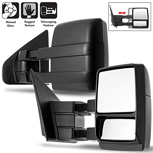 Left Right Mirrors - 04-14 Ford F150 Pickup Truck Extendable Towing Manual Mirrors Left + Right Side Pair Replacement