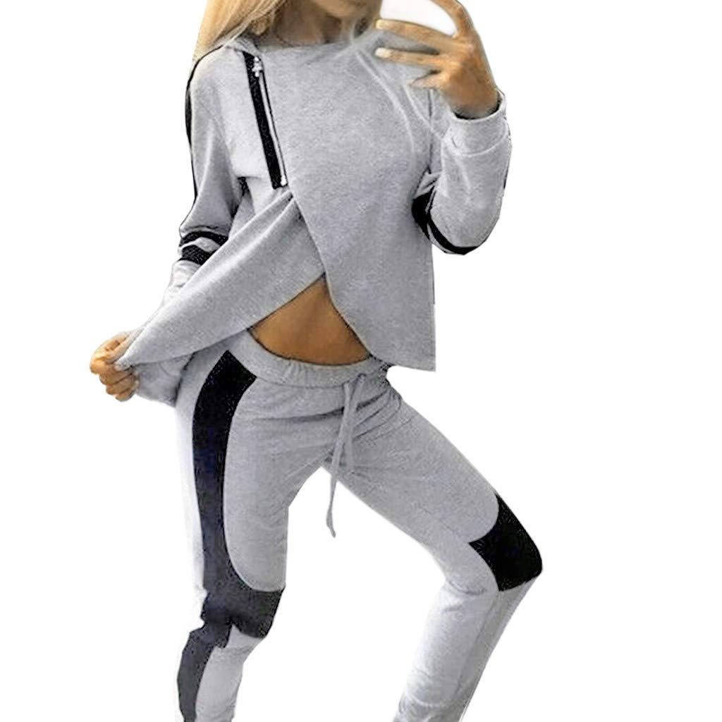 Tomatoa Ladies Tracksuit 2Pcs Casual Long Sleeve Tops + Long Pants Sets Sportswear Suit Women's Sport Lounge Wear Running Workout Gym Sweatshirt Pullover Jumper Outfit