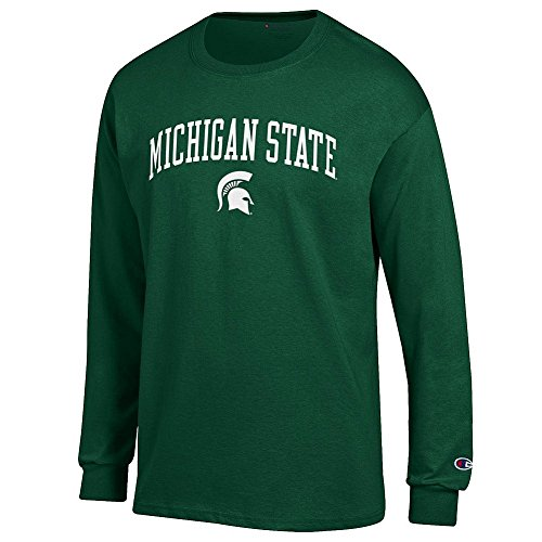Shop Msu Spartans (Elite Fan Michigan State Spartans Men's Long Sleeve Arch Tee Shirt, Forest Green,)
