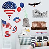 American Flag Balloon Ice Cream The Bald Eagle Wall Decal Room Decor Vinyl Sticker Removable Mural Mount Rushmore National Memorial Statue Of Liberty US Flag Wall Stickers Decal for Bedroom Decor