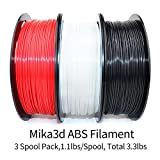 White/Black/Red ABS 3D Filament Bundle, 1.75mm+/-0.03mm, Widely Compatible with 3D Printers, Total 3.3 lbs, with One 3D Print Tool by Mika3D