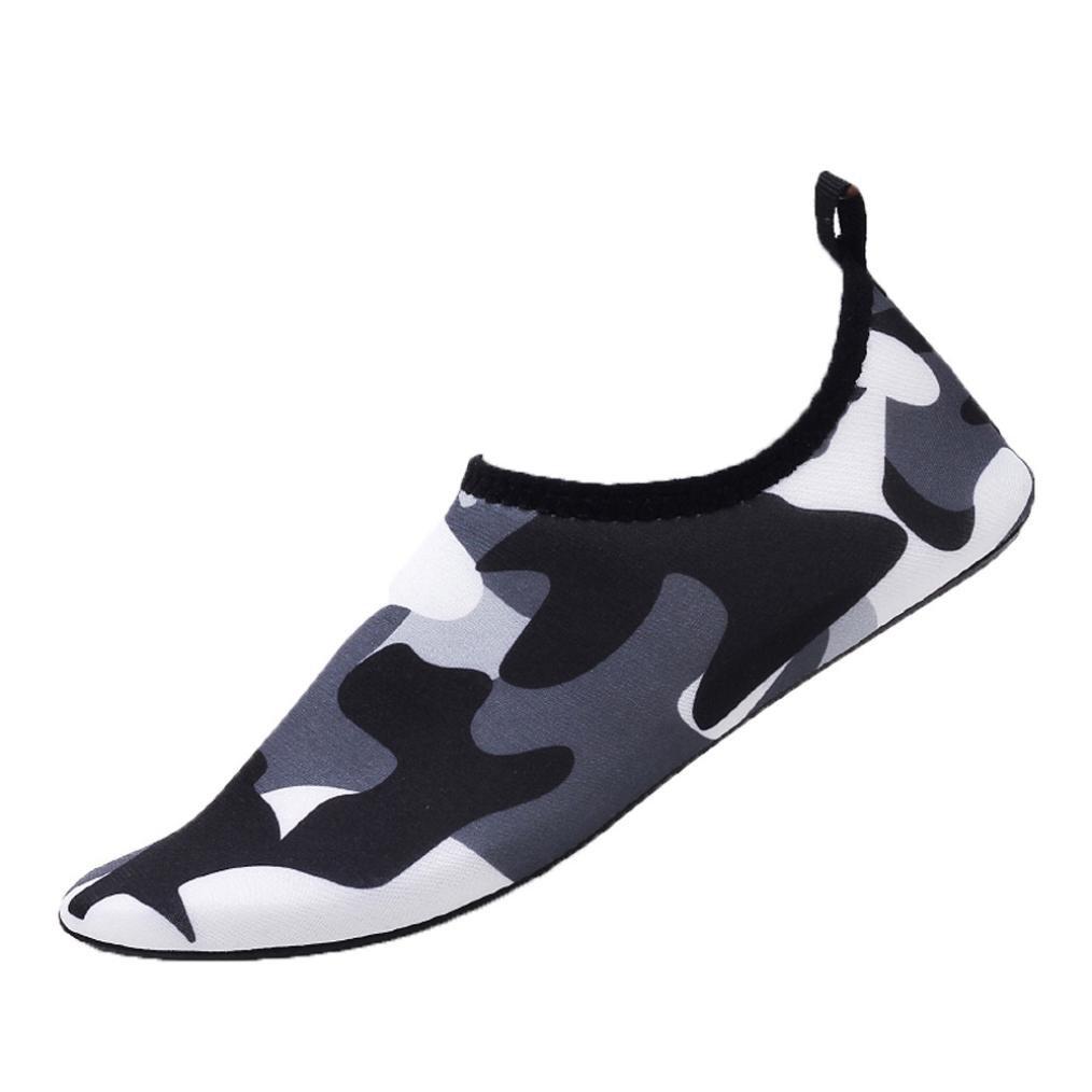 sunshinehomely女性男性水スポーツ靴サンダル夏迷彩アウトドアBarefootクイックドライAquaソックスSwim Surfヨガ練習ビーチ靴 US:9-9.5(Size:44) ブラック B07CQW8L4D