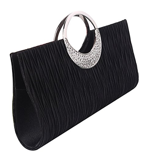 Purse Luxury Black Clutch Party Satin Pleated Womens Rhinestone Wedding Evening Handbag Wallet BwUxq8Hx