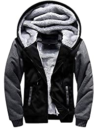 Men's Winter Heavyweight Fleece Sherpa Lined Zipper Hoodie Sweatshirt Jacket