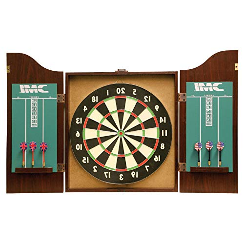 HealthyBells Recreational Bristle Dartboard Cabinet Set - Includes Dartboard, Two Dart Sets, and Traditional Chalk Scoring